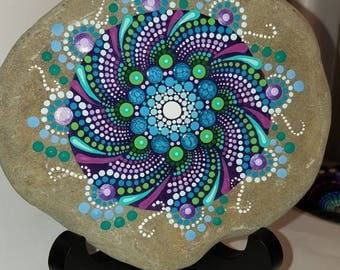 Art on Stone by Miranda Pitrone, Hand painted rock,Mandala, Painted Rock, Dot Art, Large Painted Stone