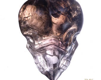 Twin Flame Heart Crystal Skull * Smokey + Chalcedony + Amethyst + Rainbows ! *