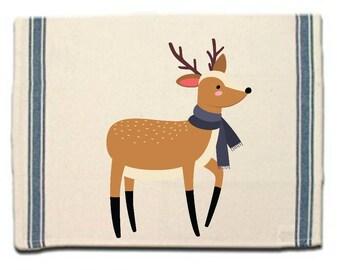 Deer in Scarf Kitchen Towel Dish Towel gift Tea Towel Flour Sack Material Woodland Animals Dish Towel Flour Sack Kitchen Towel Dish Cloth