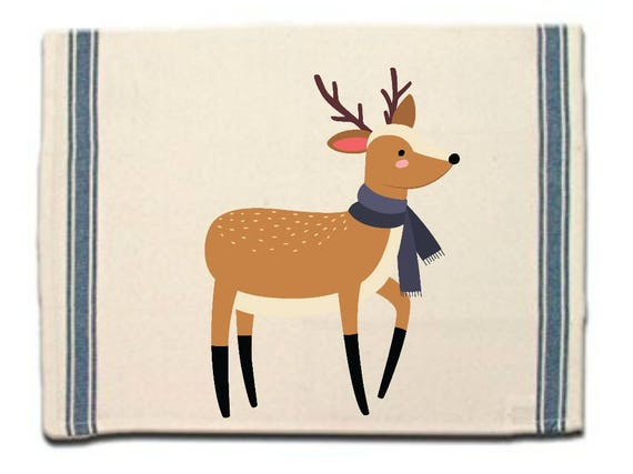 Deer in Scarf Kitchen Towel|Dish Towel| Tea Towel| Flour Sack Material| Woodland Animals Dish Towel| Flour Sack Kitchen Towel|Dish Cloth