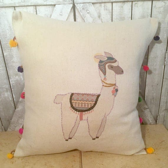 Alpaca Pillow Canvas Pillow Hand Embroidered Pillow Alpaca Decorative Pillow Alpaca Throw Pillow