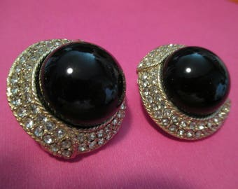 Ciner black pave Earrings, clip on Crystal Pave Rhinestone goldtone designer Couture Earrings faux onyx cabochon earrings 1960s chunky