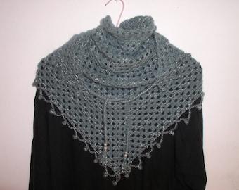 Blue and shiny gray crochet scarf / shawl
