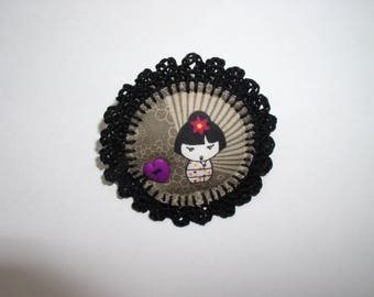 crochet with fabric geisha and heart button brooch