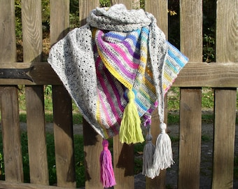 Shawl, wool and acrylic grey and multicolored crochet scarf