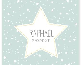 Faire-part de naissance ou baptême RAPHAEL à personnaliser.