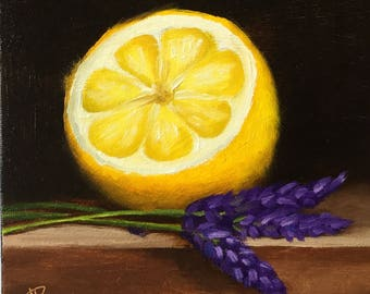 Lemon half with Lavender Original Oil Painting still life by Jane Palmer