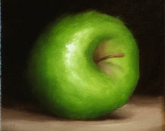 Green Apple Ready to Hang Original Oil Painting still life by Jane Palmer