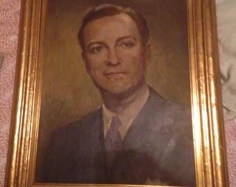 Vintage Male Portrait Painting