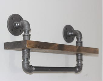 Industrial Style Bathroom Shelf With Towel Bar, Ships from Detroit, Michigan