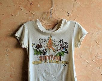 Volcano Shirt Mt St. Helens Shirt vintage Mount ST. Helens Survivor Volcano Eruption 1980 Cream Scoop Neck Blouse