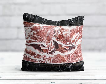 Black Marble Pillow Cover Style Cushion Cover Decorative Throw Pillow Cover Silk Pillow Satin Luxury Decor Her Gift Red Marble PillowCase