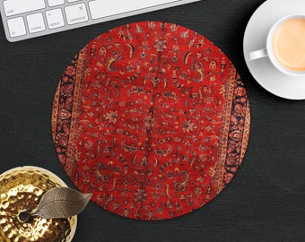 Persian Rug Mouse Pad Red Rug Mouse Mat Geometric MousePad Desk Accessories Mouse Pad Style Mouse Mat Persian Carpet Mouse Pad Office Gift
