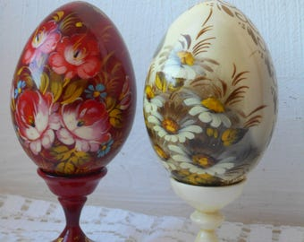 pair of stunning vintage signed and hand painted Russian egg ornaments