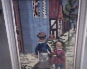 Vintage Needlepoint Art Wall Hanging Boy and Sister, Narrow Street Detailed