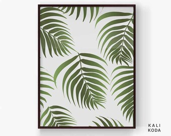 Leaf Print Pattern, Tropical Palm Leaf, Greenery, Botanical, Beach Art, Nursery Fronds, Baby Shower, Wall Art, Printable Digital Download