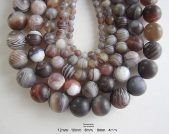"""SALE. Frosted  Natural Botswana Agate Beads, Round, faceted, 12mm, 10mm, 8mm, 6mm, Hole 1mm,  Length: 15.5"""""""