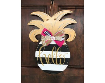 Pineapple - Gold - Black and White wood door hanger - sign - hand painted