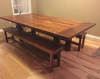 Reclaimed Breadboard Trestle Table