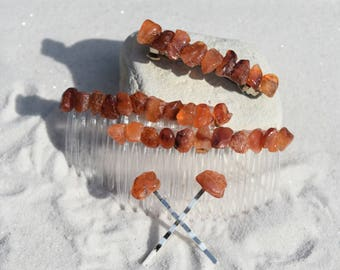 Carnelian Stone Hair Clip Set - Includes 2 Hair Combs, 1 60 mm French Barrette, 2 Hair Pins