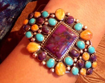 Navajo Native American Vintage Turquoise Orange and Purple rare Spiny Oyster Shell and sterling silver cuff bracelet