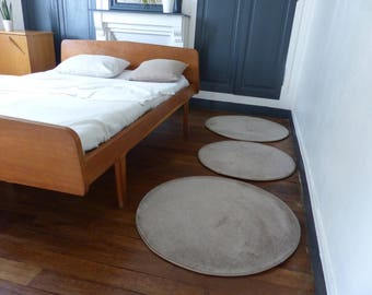 Round linen - wood carpet wool rug