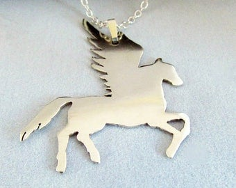 Silver Pegasus Necklace – Sterling Silver Pegasus - Winged Horse Pendant – Fantasy Necklace – Birthday Gift  - Valentine Gift - Mother's Day
