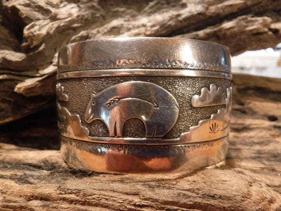 Heavy Vintage Navajo Sterling Silver Cuff Bracelet Heavy 43.3 Grams Native American Signed Gibson Gene Navajo Storyteller Cuff Bracelet