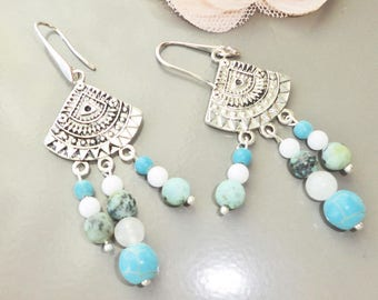 earring ethnic Native American spirit Aztec silver white and turquoise