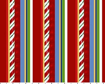 Santa Claus Is Coming To Town Red Candy Cane Stripe from Northcott by the yard