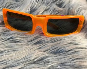 Vintage 1960s Style Eyes Italy Sunglasses Neon Light Orange Plastic Translucent Retro Futuristic Rectangle Frames