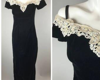 Vintage 1990s Black Velvet Prom Dress Gown Off Shoulder Slinky Lace Trim Glitter 7