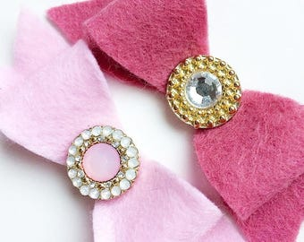 Mulberry & Ice Pink Hair Bows