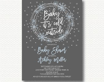 Snowflake Baby Shower Invitation, Winter Baby Shower, Baby It's Cold Outside, Snow, blue, Grey, boys baby shower, Digital, Printable,