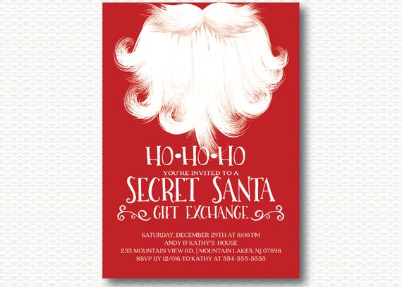Secret Santa Invitation Holiday Party Gift Exchange