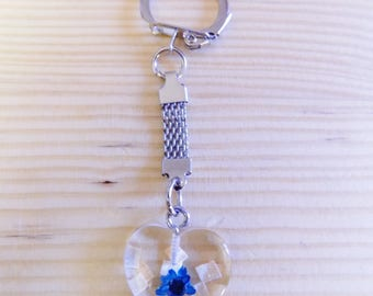 Original Bijoux de sac Porte clés  !! HEART OF GLASS !! en verre  et metal,long 6.5cm belicious-delicious-creation