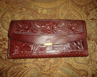 FINAL CLEARANCE Brown Tooled Leather Wallet