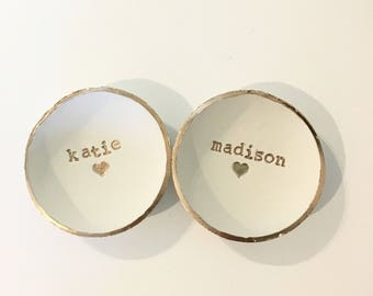Bridesmaid Gift, Bridesmaid set of 2, Dish Set, Custom Name, Bridesmaid Gift, Ring Holder, Personalized Dish, Jewlery Holder