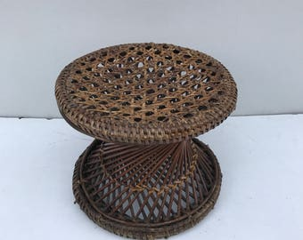 ottoman footrest diabolo old style tam tam brown vintage wicker rattan