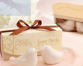 Love Birds Ceramic Salt And Pepper Shakers Wedding Favor - Wedding Favor Shakers - Bridal Shower Favor