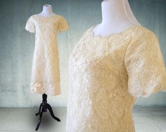 1960s Short Sheath Wedding Dress Marshall Fields Alencon Lace Mother of the Bride