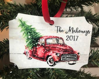 Christmas Truck Aluminum Ornament