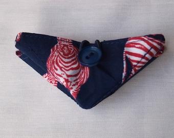 Folding needle book, needle holder, recycled fabric needle book, needle case, navy and red zebra fabric