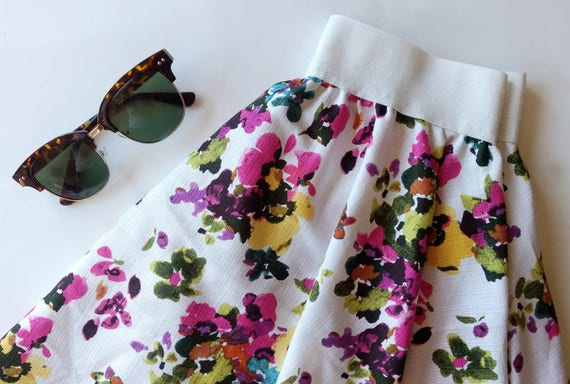Floral Circle Skirt / stretch waist / WITH POCKETS!