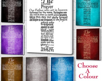 The Lords Prayer Wall hanging Picture Typography/Word Art Wall Canvas Print A1/A2/A3/A4