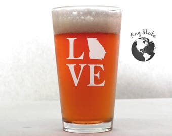 State Pint Glass - Love Pint Glass - Etched Pint Glass - Custom Pint Glass - Pint Glass - Personalized Pint Glass