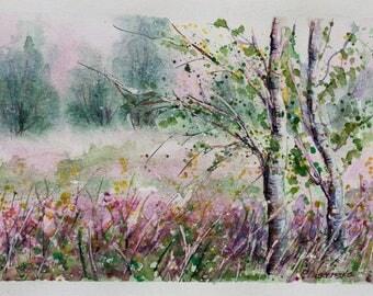 Birch tree forest, Landscape Painting, Landscape Watercolor, Landscape Art, Wild flowers, Flowers painting, Landscape, Original Watercolor