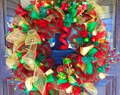 Reserved Holiday Decorations | Red And Green Christmas Wreath With Gold Ribbons, Balls and Ornaments on Etsy - 162 | Door Wreaths By Trina