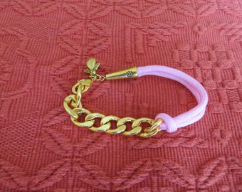 CASE BRACELET cotton cord and 14K gold plated curbed pink with a gold lobster clasp