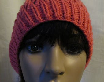 Mango Pink Lacy Knit Slouchy Beanie